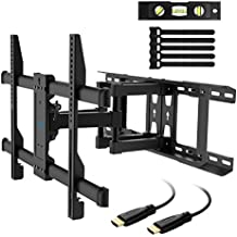 TV Wall Mount Bracket Full Motion for most 37-70 Inch LED, LCD, OLED, Flat Screen, Plasma TVs - Fits 16-24 Inch Wood Studs - TV Mount Holds up to 132lbs, VESA 600x400mm by PERLESMITH