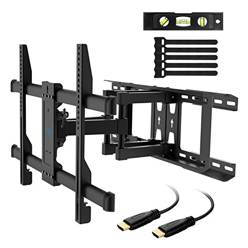 "Wood Flat Screen Tv - TV Wall Mount Full Motion Fits 16"", 18"", 24"" Wood Studs, Articulating Swivel TV Mount for Most 37-70 Inch LED, LCD, OLED, Flat Screen, Plasma TVs up to 132lbs, VESA 600x400mm by PERLESMITH"