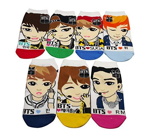 BTS Kpop Bangtan Boys Socks Bts Kpop Socks'for Women Girls Cute Cotton Character Merchandise Low Ankle Socks Jungkuk,J-Hope,Suga,V,Jin,Jimin,Rap Mon BT21