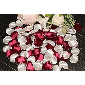 Wine Rose Petals, White Flower Petals, Set of 100, Burgundy Table Decor, Aisle Runner Petals, Marsala Wedding, Flower Girl Petals, Romantic Date Night 54