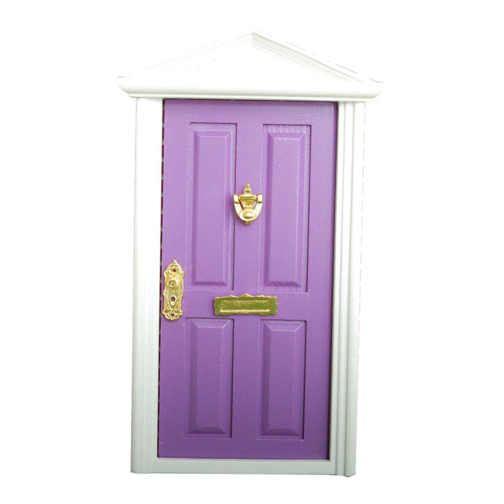 P/úrpura Dollhouse Puerta Hacia Exterior de Madera Miniatura 4 Paneles Llave Mueble para Casa de Mu/ñecas