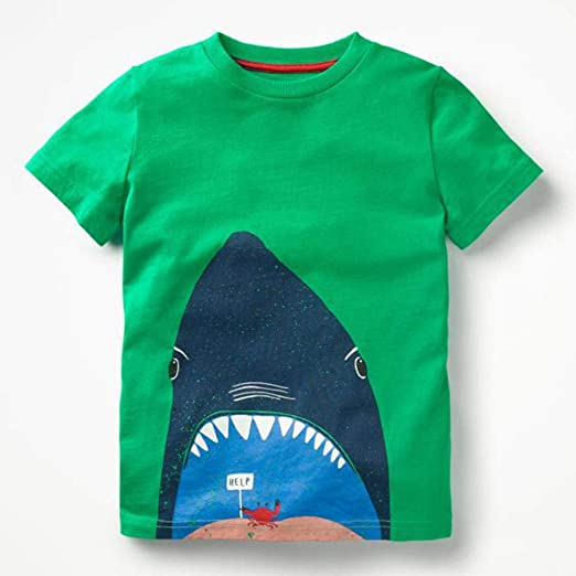 76c398b1d Amazon.com: Kids Baby Boys Short Sleeve Cartoon Shark Print Tops T-Shirt  Blouse Tees: Clothing