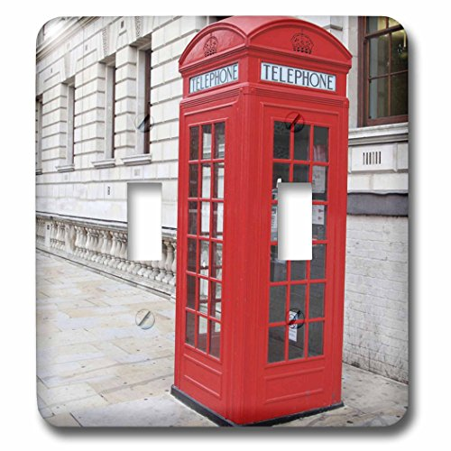 3dRose LLC lsp_56177_2 London's Famous Red Phone Booths, Double Toggle Switch - Phone Outlet Switchplate