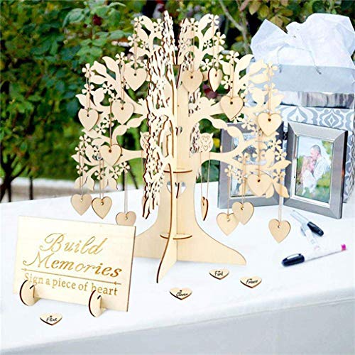 Icocol Wedding Guest Visit Sign Book Tree Wooden Hearts Pendant Drop Ornaments Wedding Party Decoration
