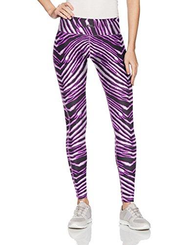 Zubaz Unisex Casual Printed Athletic Lounge Leggings, Black/Neon Purple, L ()