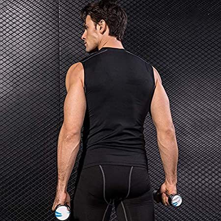 huangThroStore Men Sportswear Elastic Tight Breathable Quick Dry Compression Vest Sports Tops for Workout S, blue