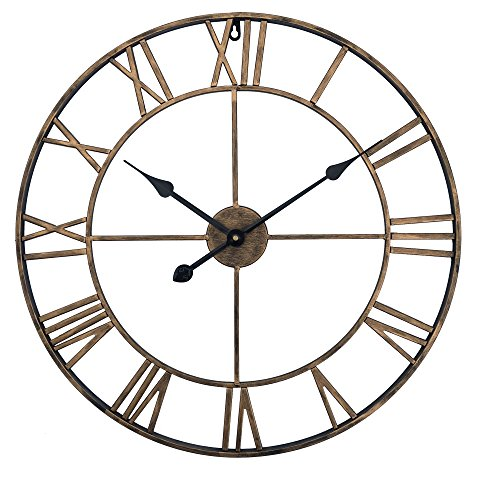 Yazhben Home Retro Wall Clock 16 Inch Gold Classic Design 3D Roman Numerals Battery Operated Silent Non-Ticking Clocks Decorative Living Room Clock (Antique Gold, 16 inch Diameter)
