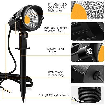 MEIKEE 7W LED lámpara con espiga de césped, luz impermeable IP66 ...