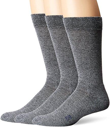 Hue Men Dress - HUE Men's Marled Crew Sock (3-Pack), Dark Graphite, Sock Size 10-12/Shoe Size 6-13