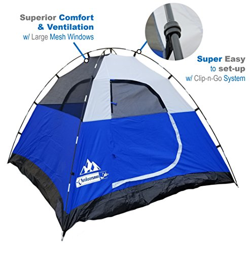 OutdoorsmanLab 3 Person Tent For Camping, Backpacking, Mountaineering -lightweight, Easy Setup Water-resistant Dome Family Camping Tent w/ Great Storage Space