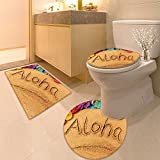 3 Piece Toilet Cover set Aloha Hawaii beach Extra Soft Memory Foam Combo - Rug, Contour Mat and Lid Cover