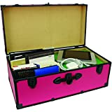 Footlocker Trunk, 30 Inches, Expands Storage Solutions, Features Durable Wooden Construction and Heavy Gauge Vinyl Covering, Two Lock Down Latches Included, Pink + Expert Guide