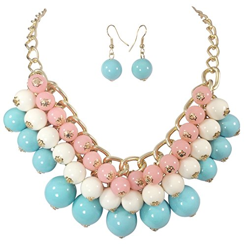 Multi Color Cluster Bead Chunky Gold Tone Necklace & Earrings Set (Pink (Blue Bead Necklace Set)