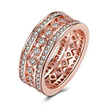 Gold Plated Wedding Rings for Women 3 Rows Round Crystal by AmDxD