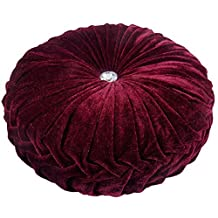 """BURGUNDY RED LUXURIOUS THICK VELVET ROUND DEEP CRYSTAL PLEATED PILLOW CUSHION 15"""" - 38CM"""