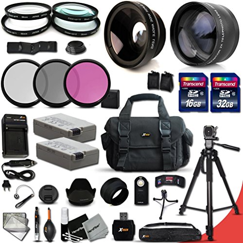 Canon EOS Rebel T5i T4i T3i T2i 700D 650D 600D 550D ACCESSORIES Kit Includes: 58mm High Definition 2X Telephoto Lens + 58mm High Definition Wide Angle Lens + 32GB High Speed Memory Card + 16GB High Speed Memory Card (Total of 48GB) + Full Size Pro Series 72 Inch Tripod + 2 LP-E8 / LPE8 High Capacity Batteries + AC/DC Quick Charger + Large Well Padded Case + 58mm 4 Pieces Close-up Macro Filters + 58mm 3 Piece Filter Set + 58mm UV Protection Filters + 58mm Hard Lens Hoods + 58mm Rubber Lens Hood + External Remote Control + Universal Card Reader + Mini Table Tripod + Memory Case Holder + Screen Protectors + Mini Blower + Cleaning Pen + Lens Cap Holder + Deluxe Cleaning Kit + Ultra Fine HeroFiber Cleaning Cloth