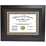 CreativePF [11x14bk] Black Diploma Frame with 11x14-inch White Mat to Hold 8.5 by 11-inch Graduation Documents w/Stand and Wall Hanger (Black Mat-black Frame, 1)