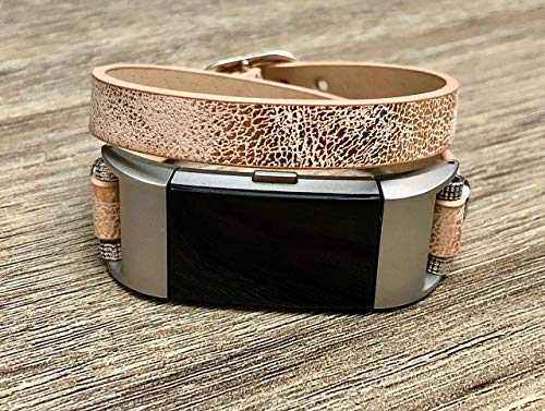 (Sand Gold Vegan Leather Bracelet For Fitbit Charge 2 Wristband Handmade Double Wrap Adjustable Size Strap Fitbit Charge 2 Band For Women Unique Fashion Fitbit Charge 2 Bracelet)