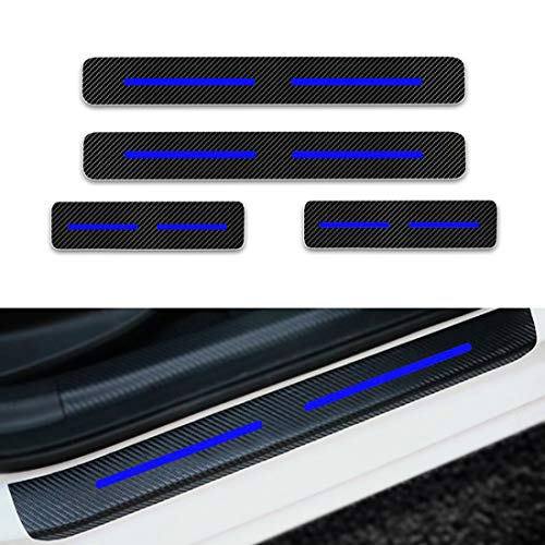 (For Volkswagen Jetta Passat Polo Golf mk4 Door Sill Protector Reflective 4D Carbon Fiber Sticker Door Entry Guard Door Sill Scuff Plate Stickers Auto Accessories 4Pcs Blue)