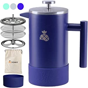 French Press Coffee Maker with Silicone Sleeve and Travel Bag by JOMO, Durable Double Wall Stainless Steel for Hotter Coffee and Tea (34 ounce/1 Liter), Designed for the Kitchen and the Outdoors