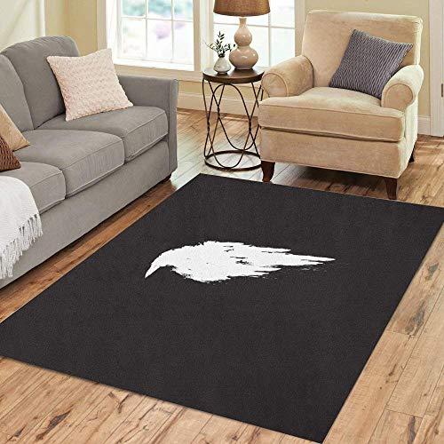 Semtomn Area Rug 5' X 7' Animal White Raven Crow Bird Beak Black Cartoon Dark Home Decor Collection Floor Rugs Carpet for Living Room Bedroom Dining -