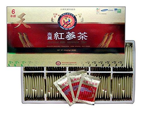 Korean Red Ginseng Tea 3g x 100 Packets, Ginseng Tea, Made in Korea - 6 Year Roots (Panax Ginseng Root Tea)