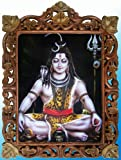 Lord Shiva Doing Meditation in Night Poster Painting in Wood Crafts Frame, Handicrafts Art