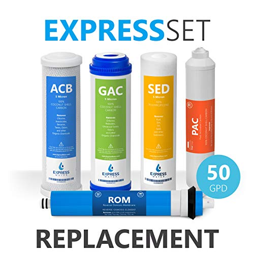 Express Water - 6 Month Reverse Osmosis System Replacement Filter Set - 5 Filters with 50 GPD RO Membrane - 10 inch Size Water Filters
