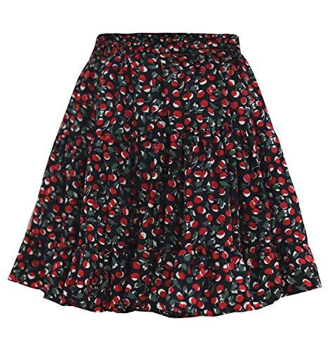 - Women's Floral High Waist Drawstring Ruffle Flared Boho A-Line Pleated Skater Mini Skirt (Cherry Black Skort, S)
