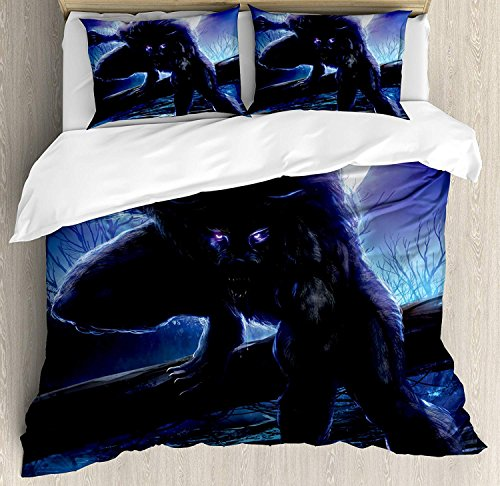 4 Piece Queen Size Duvet Cover Set,Fantasy World Surreal Werewolf Electric Eyes Full Moon,Bedding Set Luxury Bedspread(Flat Sheet Quilt and 2 Pillow Cases for Kids/Adults/Teens/Childrens -