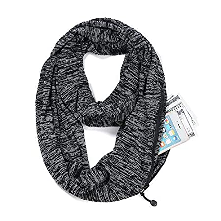Infinity Scarf With Zipper Secret Pocket For Women Girls - Extreme Soft Stretchy Travel Scarves (Black+gray)