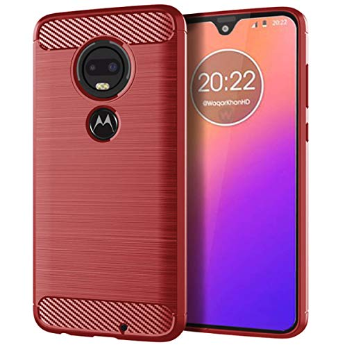 (Moto G7 Play Case,Phone Case for Moto G7 Play,CSTM Slim Thin Carbon Fiber Shockproof Anti-Scratches Non-Slip TPU Flexible Soft Protective Case Cover for Motorola Moto G7 Play 2019 (Red))
