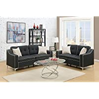 Benzara BM168714 Polyfiber Sofa with Loveseat and Cushions, Black