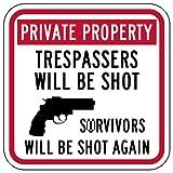 STOPSignsAndMore - Private Property Trespassers Shot Survivors Shot Again Sign - 12x12