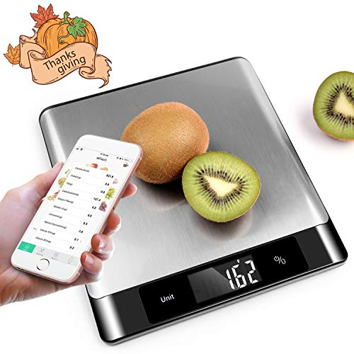 Nutrition Food Scale - Smart bluetooth Kitchen Scale - Food Composition Analyzer with Smartphone App, Battery Included