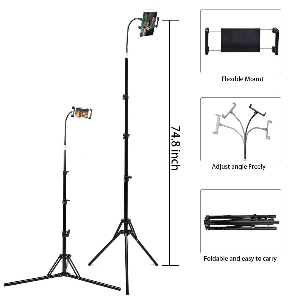 Floor Stand for Smartphone and Tablet, 360 Degree Adjustable Selfie Tripod Mount Holder for 4.7''-9'' Phones, Kindles and Up to Ipad Mini.Black Max Height 75''.Best for Bed&Desk&Sofa.