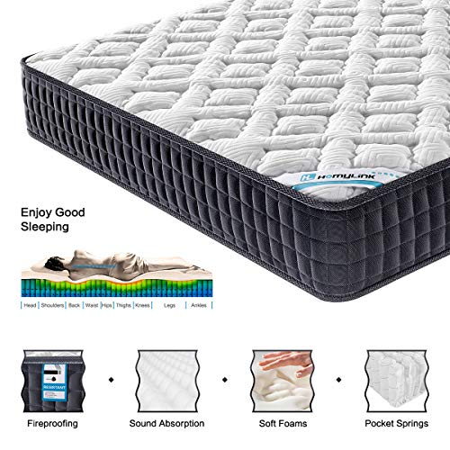 HomyLink 4FT6 Double Mattress Pocket Sprung Memory Foam 9-Zone Orthopaedic...