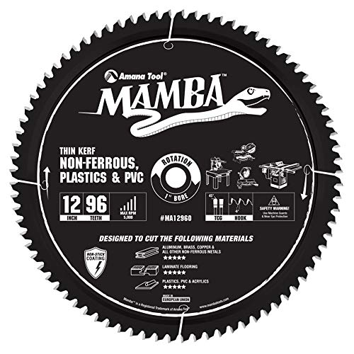 Amana Tool MA12960 Carbide Tipped Thin Kerf Laminate Flooring, Non-Ferrous, Plastic & PVC Cutting Contractor Series Mamba 12 Inch D x 96T, TCG, -6 Deg, 1 Bore Circular Saw Blade ()