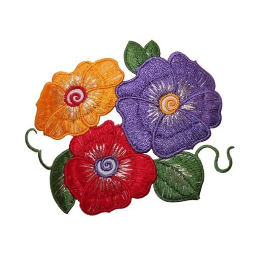 ID 6834 Multi Color Hibiscus Flower Patch Tropical Embroidered Iron On Applique for Accessories - Bags/Purses, Apparel - Coat/Jacket, Apparel - Jeans/Pants, Children, Crafts by SayrusPlay (Pants Ribbon Jeans)