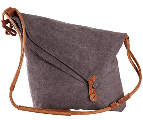 Tom Clovers Summer Canvas Crossbody Messenger Shouder Handbag Tote Grey ()