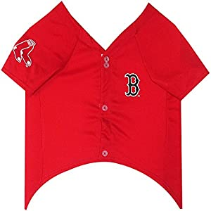 Pets First MLB BOSTON RED SOX Dog Jersey, X-Large. - Pro Team Color Baseball Outfit