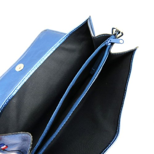 Frandi [K9865] - Sac pochette cuir 'Frandi' bleu electra (2 soufflets)