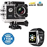 Drumstone 4K WIFI Sports Action Camera Ultra HD Waterproof DV Camcorder 12MP 170 Degree Wide Angle With A1 Bluetooth Smart Watch Sport SIM Card and TF Card with Camera Compatible with Xiaomi, Lenovo, Apple, Samsung, Sony, Oppo, Gionee, Vivo Smartphones (One Year Warranty)