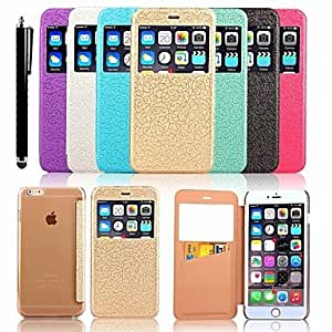 YULIN Flower Vine Pattern PU Leather Full Body Case with Card Slot and Stylus for iPhone 6 (Assorted Colors) , Black