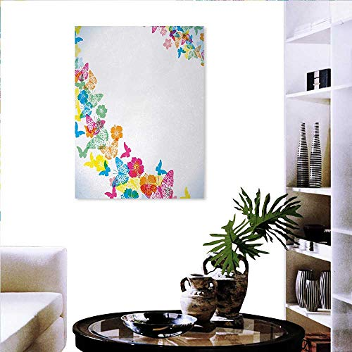 (Warm Family Luau Stickers Wall Home Fantastic Festive Fun Party Borders Colorful Butterfly Silhouettes Florets Fashion Stickers Wall 20