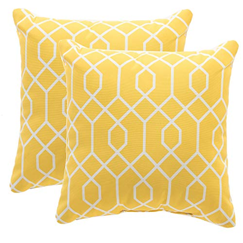 TINA'S HOME Yellow Outdoor Patio Pillows | Waterproof Down Alternative Throw Pillow for Patio Bench Swing Couch Decor(Set of 2) - 16x16 (Furniture Century Modern Mid Outdoor Patio)