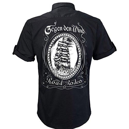 ROAD RODEO Worker Shirt, Hemd, Rock'n'Roll, Punk, Sailor, Schiff, gegen Den Wind