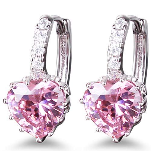 (GULICX Heart shape Created Pink sapphire Cubic Zirconia Silver Tone hoops shiny earrings)