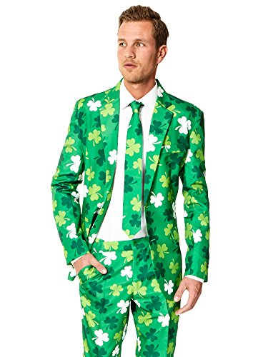 Suitmeister ST. Patrick's Day Clover Suit For Men Coming With Green Pants, Jacket and Tie - 100%