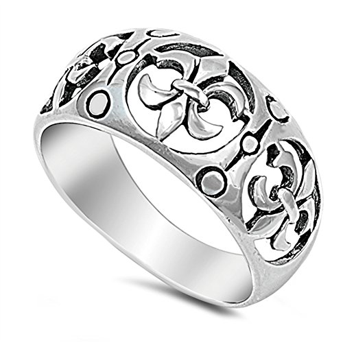 Filigree Fleur De Lis Cutout Wide Ring New .925 Sterling Silver Band Size -